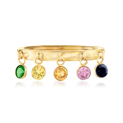 Ross-Simons Multicolored Sapphire and . Tsavorite Ring in 14kt Yellow Gold