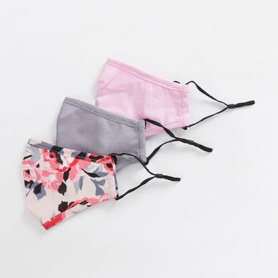 Nautica Floral And Solid Reusable Face Mask, 3 Pack