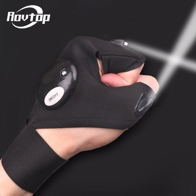 Rovtop Outdoor Car Bike Tire Repair Tools with LED Light Night Fishing Glove Rescue Tool Gear Magic Strap Fingerless Glove Z2