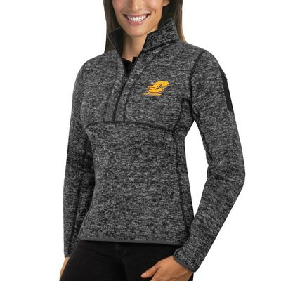 Central Michigan Chippewas Antigua Women's Fortune 1/2-Zip Pullover Sweater - Charcoal