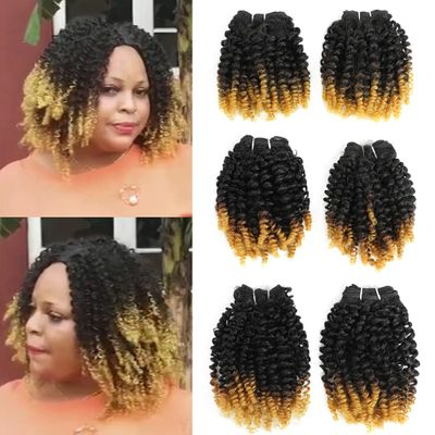 Synthetic Small Jerry Hair Bundles T27 6 Bundles All In One Pack 200g Funmi Hair Weaves Bouncing Curly Hair Extensions