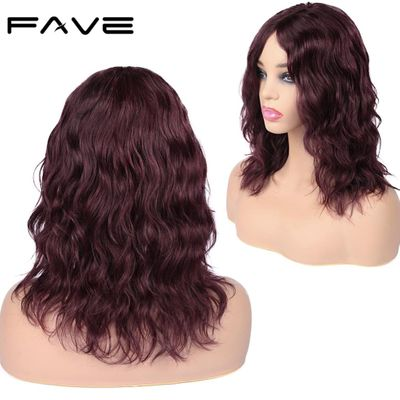 FAVE Lace Front Human Hair Wig Natural Wave Wig Lace Middle Part Brazilian Remy Wig 150% Natural Black / #99J For Black Women