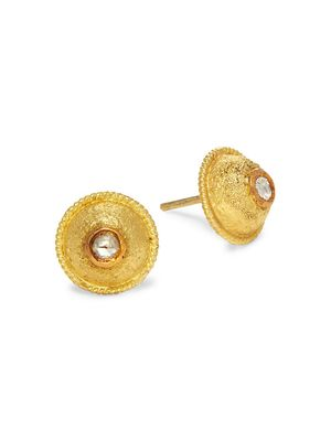 Artisan 18K Yellow Gold & Diamond Stud Earrings