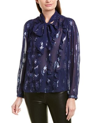 Rebecca Taylor Metallic Star Silk Top