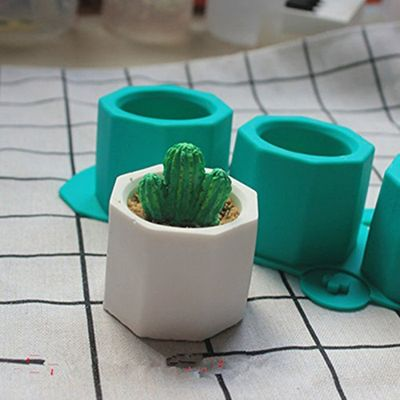 Concrete Molds Silicone Cactus Flower Pot Mold Ceramic Clay Craft Casting Concrete Cup Mould Supplies random color New