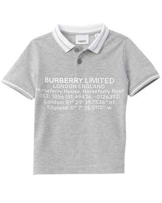 Burberry Location Print Pique Polo Shirt