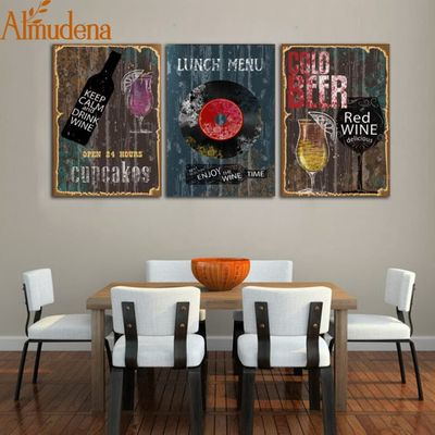 ALMUDENA Nordic Retro Canvas Painting Abstract Record Coffee Drinks Picture Modern Bar Wall Art Decoration Poster Unframed