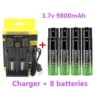 2020 New 18650 battery 3.7V 9800mAh rechargeable liion battery for Led flashlight battery 18650 battery Wholesale +USB charger