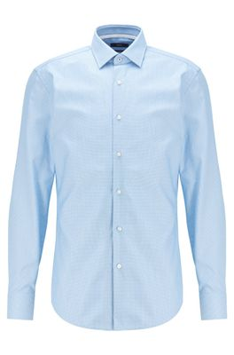 HUGO BOSS - Slim Fit Shirt In Structured Cotton With Kent Collar