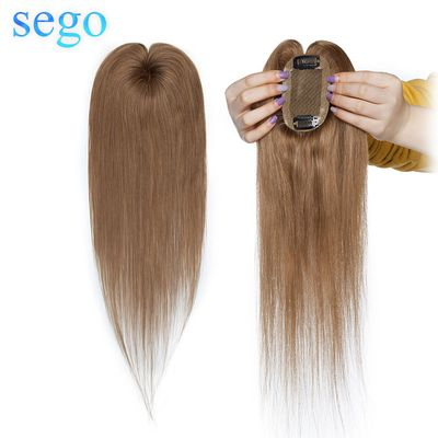 SEGO 6x9cm Human Hair Silk Base Toppers For Women Natural Remy Clip in Hair Extensions  Top Hairpiece Straight Indian Hair
