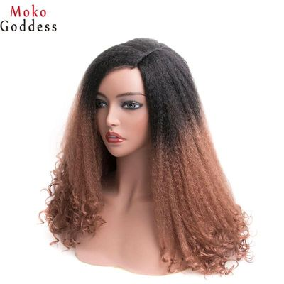 MoKoGoddess Afro Kinky Curly Wigs For Black Women Long Synthetic Wig African American Braided Wigs