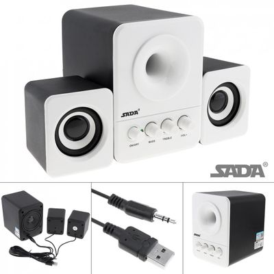 SADA Wired Mini Bass Cannon 3W PC Combination Speaker Column Computer Speaker with 3.5mm Stereo Jack and USB 2.1 Wired Powered