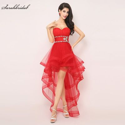 In Stock High Low Sexy Red Prom Dresses Sweetheart Tulle Lace up Beaded Pleat Cheap Evening Formal Party Homecoming  Gown AJ014