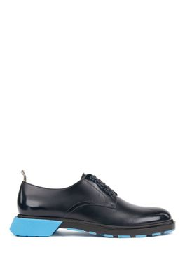 HUGO BOSS - Derby Shoes In Leather With Chunky Pop Color Sole