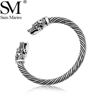 Vintage Dragon Head Mouth Open Cuff Bracelet Nordic Viking Bangle Antique Silver Color Twisted Pattern Carved Wristband Jewelry