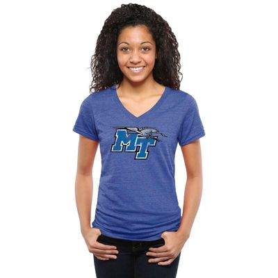 Middle Tennessee State Blue Raiders Women's Classic Primary Tri-Blend V-Neck T-Shirt - Royal