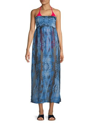 RACHEL Rachel Roy Smocked Tie-Dye Strapless Cover-Up