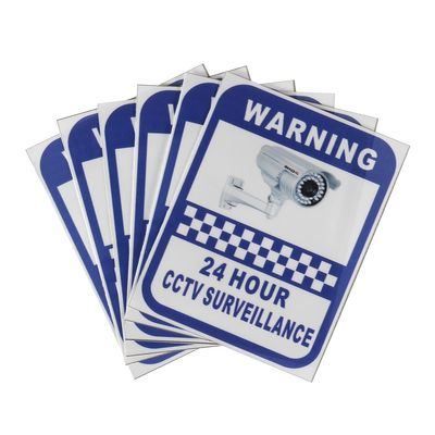 Safurance 6 Pack Security Camera Surveillance Warning CCTV Sticker 70x90mm For Home Office Security Safety