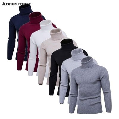 Drop shipping Adisputent Autumn And Winter Pure Color Pullover Outerwear Comfortable High Collar Slim Fit Knitted Sweater Jumper
