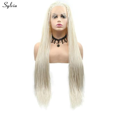 Sylvia Afro Braided Wig Dark Brown/White Blonde/Blonde Synthetic Lace Front Wigs Natural Hairline Braids Wig for Women Cosplay