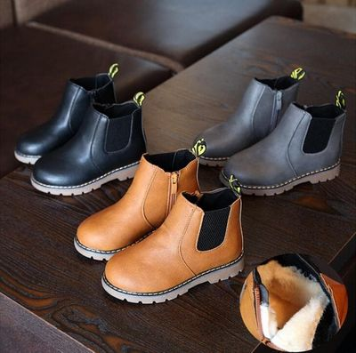 2020 New Autumn Children Shoes PU Leather Waterproof Leather Boots Warm Kids Snow Boots Girls Boys Rubber Boots Fashion Sneakers