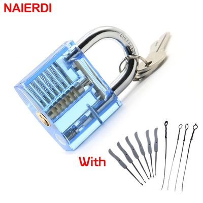 NAIERDI Transparent Pick Cutaway Practice Padlock Lock With Broken Key Removing Hooks Lock Extractor Set Locksmith Tool Hardware