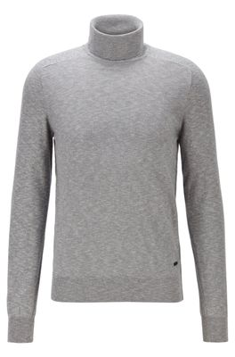 HUGO BOSS - Slim Fit Roll Neck Sweater With Mixed Knits