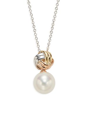 Effy 10MM White Round Freshwater Pearl 14K Tri-Tone Gold Pendant Necklace