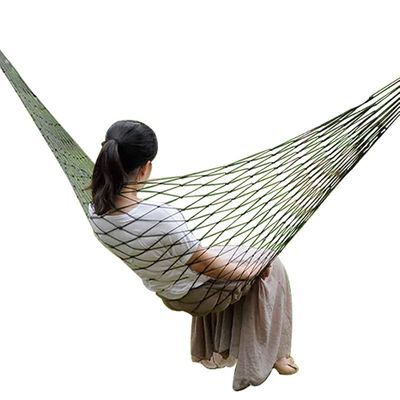Outdoor Camping Nylon Mesh Rope Hammock Chair Single Sleeping Hanging Bed Swing Camping Leisure Mesh Hammock