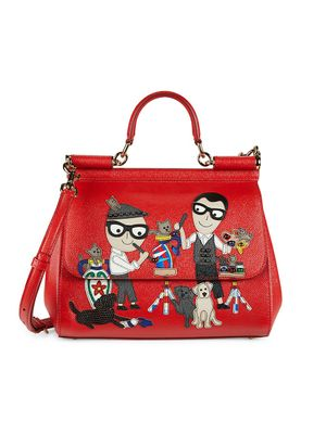 Dolce & Gabbana Textured Leather Top Handle Bag