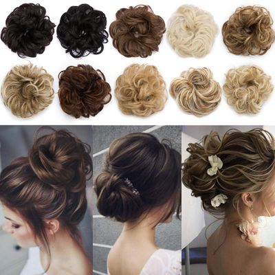 S-noilite elastic band with hair curly Chignon Synthetic Hair Women Drawstring Ponytail Hairpieces Black Brown blonde