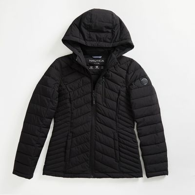Nautica Water-resistant Packable Stretch Hooded Coat
