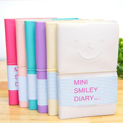 ZHUTING Adorable Smiling Face Leather Cover Elastic Ropes Colorful Inside Page Mini Diary Notebooks Color Random
