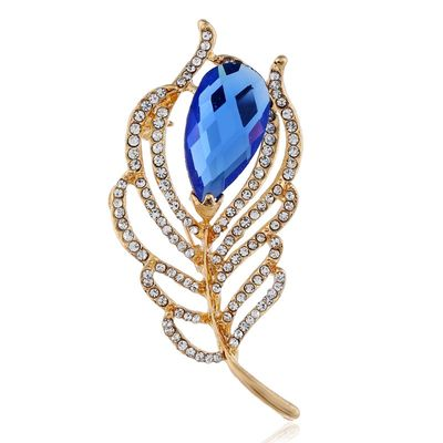 Fashion Female Male Elegant Flash Crystal Feathers Casual Brooch For Women Men Party Wedding Exquisite Gift Coat Accessories