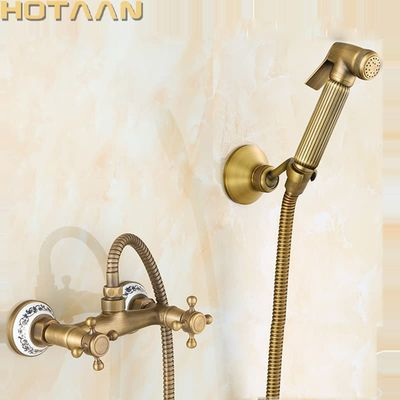 Free shipping New Arrivals Antique Bronze Bidet Faucet Dual Handle Mixer Wall Mounted Luxury Bathroom Shower Faucet Set YT-5194B