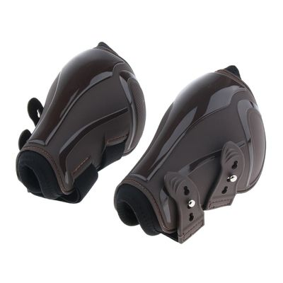 4 Pieces Horse Tendon and Fetlock Boot Set, Equestrian Front Hind Legs Protection - PU and Neoprene, Adjustable