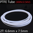 2T 6.6mm x 7.5mm PTFE Tube T eflon Insulated Rigid Capillary F4 Pipe High Temperature Resistant Transmit Hose 300V White